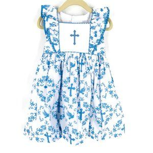 NWT Eleanor Rose Cross & Dove Print Easter Dress